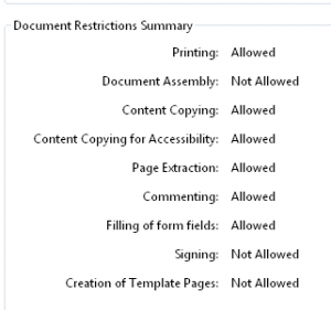Adobe Acrobat Reader PDF security properties