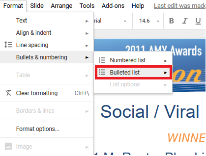 Turn bulleted lists into marketing content.